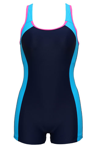 FB986# Two Tone Contrast Trim Racerback Tank Boyleg One Piece Swimsuit * - Cobunny