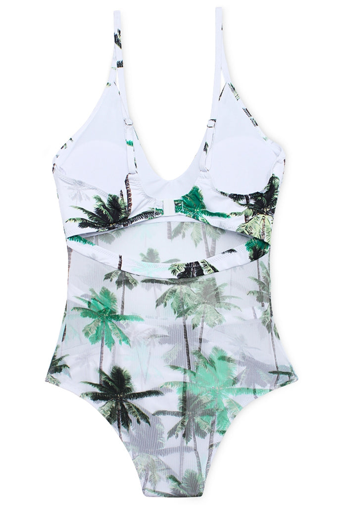 FB558# Palm Tree  Mesh Overlay V Neck Cut Out One Piece Swimsuit * - Cobunny
