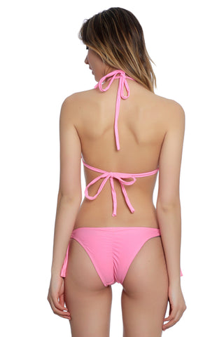 FB697# Solid Cross Wrap Strappy Halter High Cut Monokini * - Cobunny
