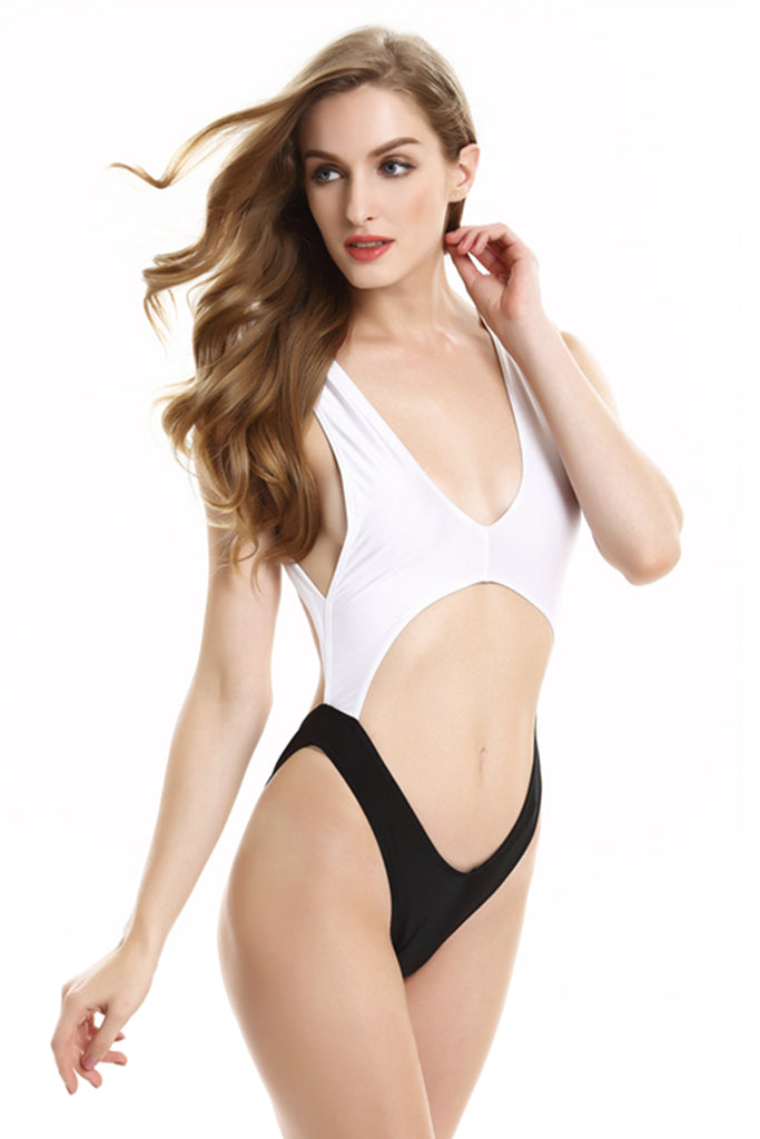 FB616# Plunge Wide Shoulder Strap Cutout High Cut Monokini * - Cobunny