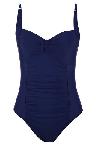 A274# Navy Blue Cutout Ruched One Piece Swimsuit * - Cobunny