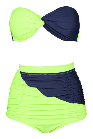 FB999# Green & Deep Blue Halter Twisted Bandeau High Waist Bikini Set * - Cobunny
