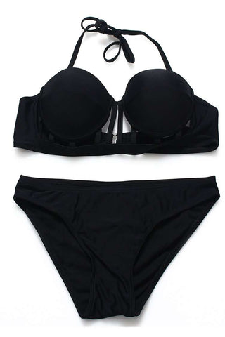 FB622# Black Strappy Cut Out Push Up Balconette Halter Bikini Set * - Cobunny