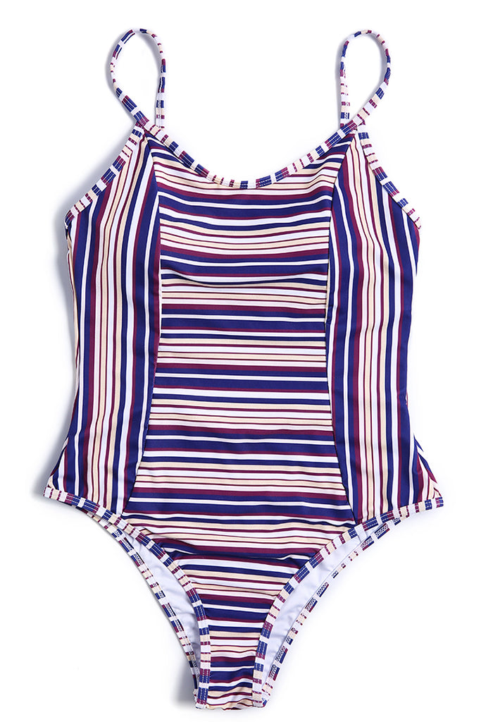 A357# Purple Striped Cutout Thin Strap One Piece Swimsuit * - Cobunny