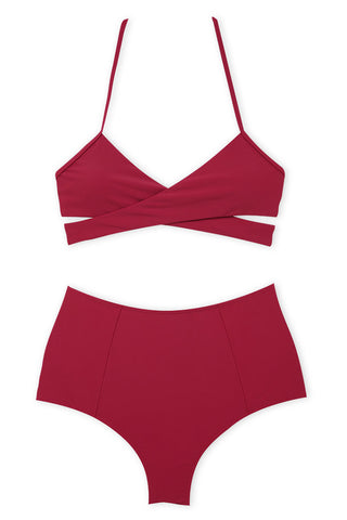A105# Red Solid Wrap Halter High Waist Bikini Set * - Cobunny