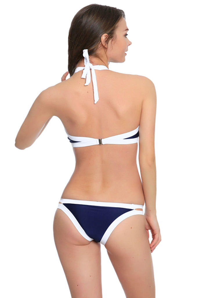 FB887# Color Constrast Banded High Neck Halter Bikini Set * - Cobunny