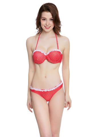 FB734# Polka Dot Ruffle Trim Push Up Balconette Halter Bikini Set * - Cobunny