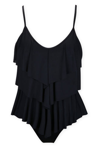 A075# Black Solid Stack Up Ruffle Tankini Set* - Cobunny