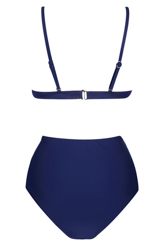 A073# Deep Blue Solid Triangle High Waist Bikini Set*(没有库存) - Cobunny