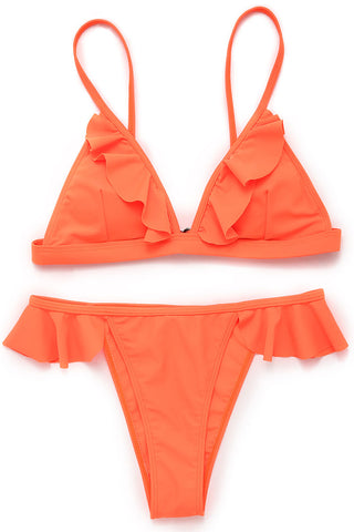 A058# Neon Orange Ruffle Triangle Bikini Set* - Cobunny