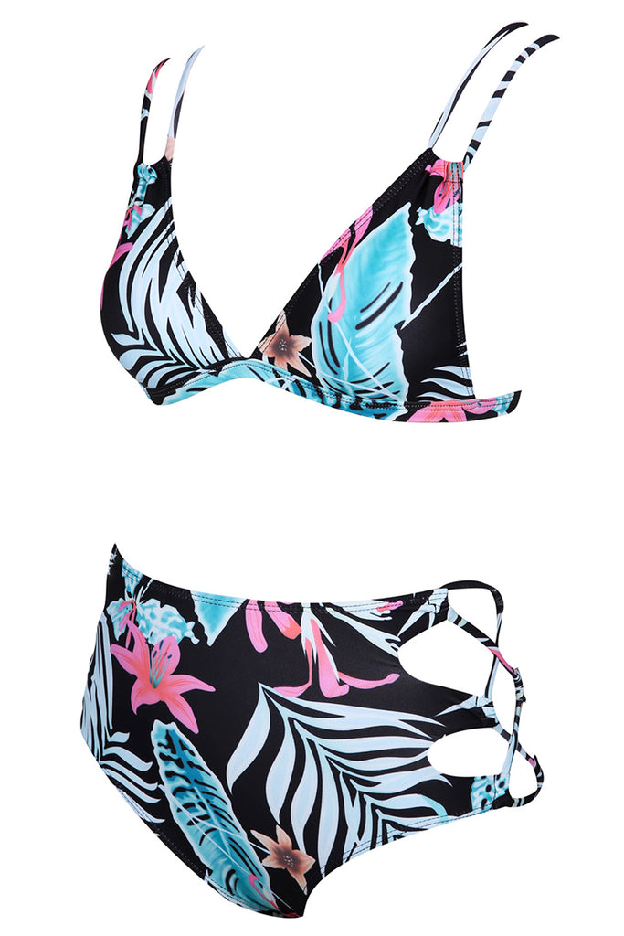 A008# Lily Flowers and Leaves Pattern  Strappy Cutout Bralette High Waist Bikini Set* - Cobunny