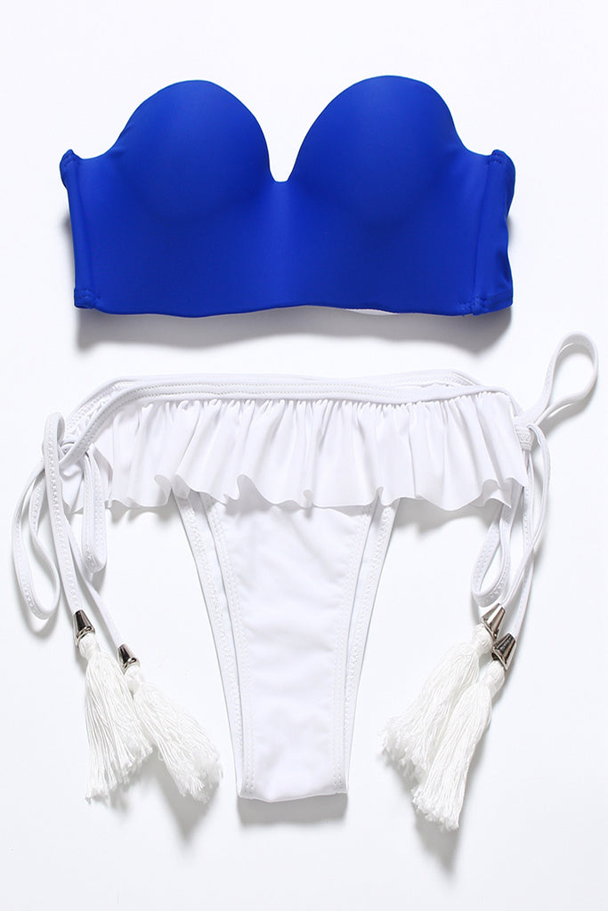 FB836# Blue Ruffle Push Up Balconette Halter Top & White Tassel Bottom * - Cobunny