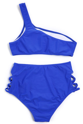 A111# Royal Blue Solid One Shoulder Bikini Set * - Cobunny