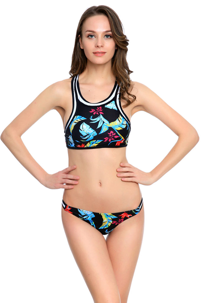 FB880# Colorful Leaves Banded High Neck Racerback Crop Tank Bikini Set * - Cobunny