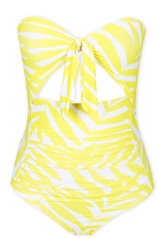 A209# Abstract Print Front Bow Cut Out Bandeau One Piece Swimsuit * - Cobunny