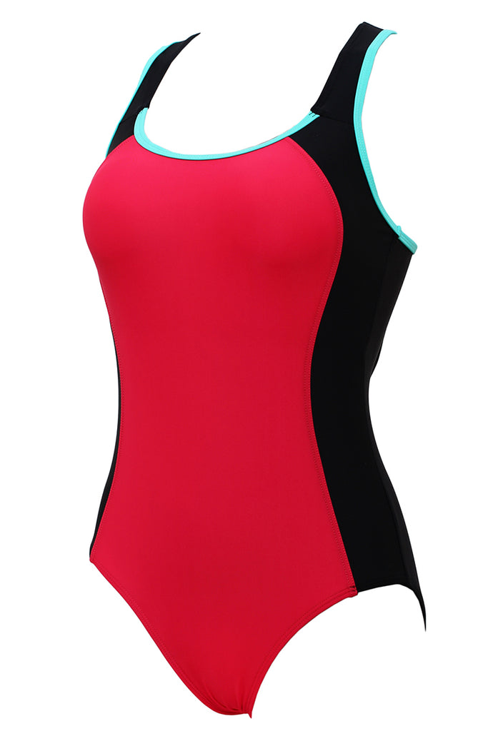 Two Tone Contrast Racerback Tank One Piece Swimsuit - Cobunny