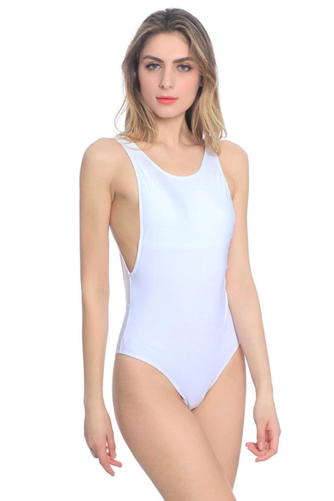 FB658# White Solid Deep Scoop Back Tank One Piece Swimsuit * - Cobunny
