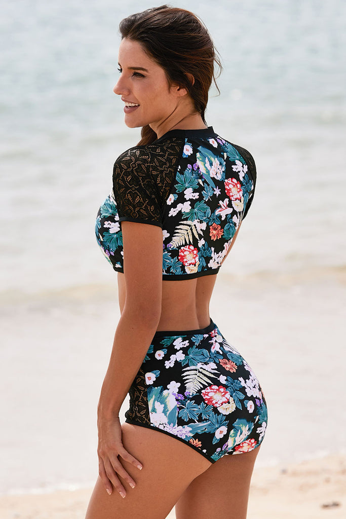 Lace Hollow Floral Print 2pcs Swimsuit