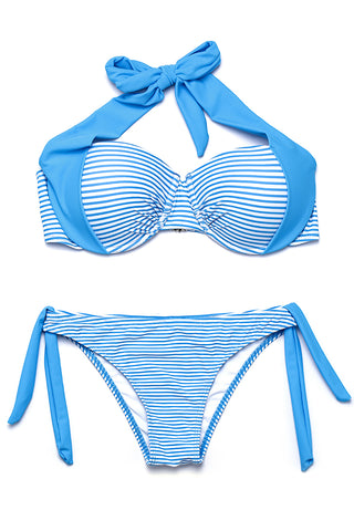 ZH020# Striped Wide Band Push Up Bra Halter Bandeau Bikini Set * - Cobunny