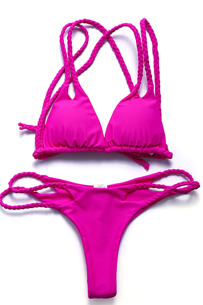 ZH013# Braided Strap Cut Out Triangle Bikini Set * - Cobunny