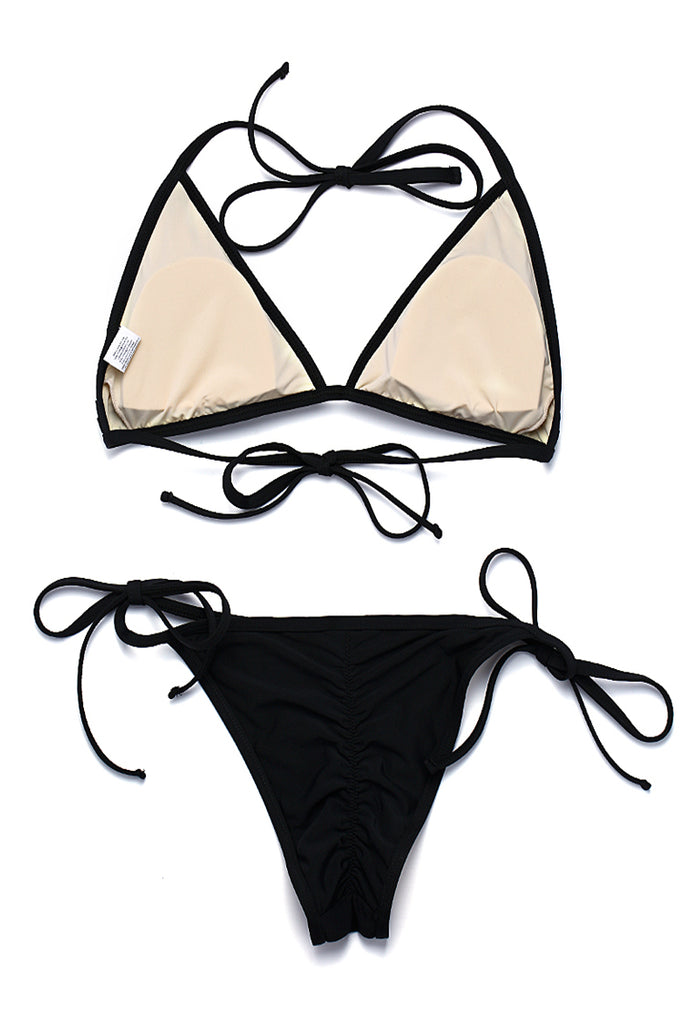 ZH012# Cut Out Strappy Triangle Halter Bikini Set * - Cobunny