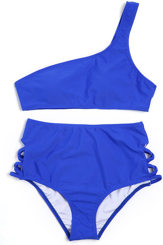 9d4c71da4b A111# Royal Blue Solid One Shoulder Bikini Set * - Cobunny ...