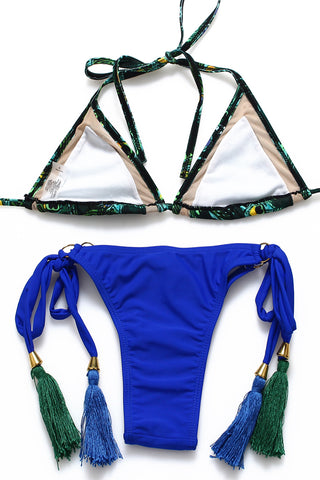 FB778# Peacock Print Strappy Tassel Triangle Bikini Set * - Cobunny