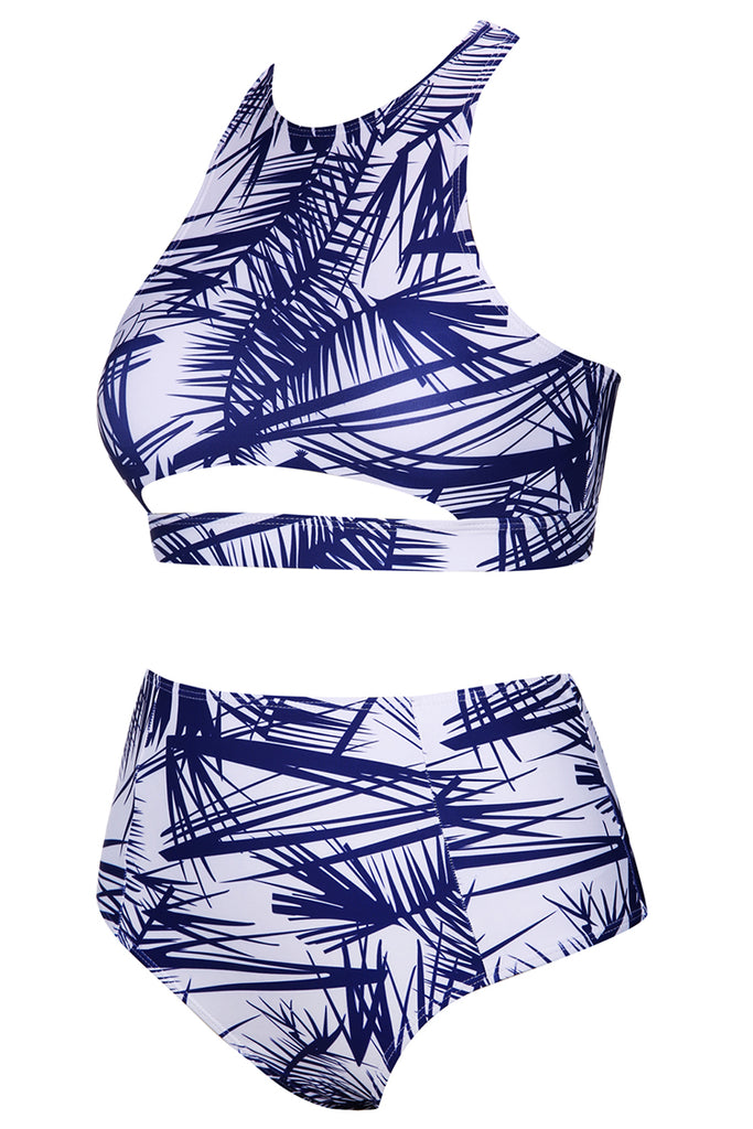 A002# Palm Tree Leaves Print Racerback High Waist Bikini Set* - Cobunny