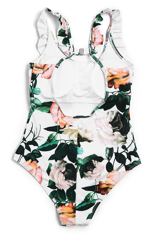 A152# Rose Flower Blossom Ruffle One Piece Swimsuit * - Cobunny