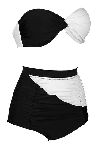 FB999# Black & White Halter Twisted Bandeau High Waist Bikini Set * - Cobunny