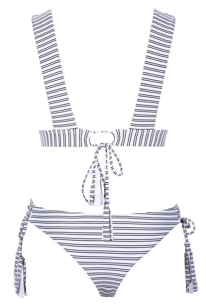 A009# Striped Wide Shoulder Strap Bralette Bikini Set* - Cobunny