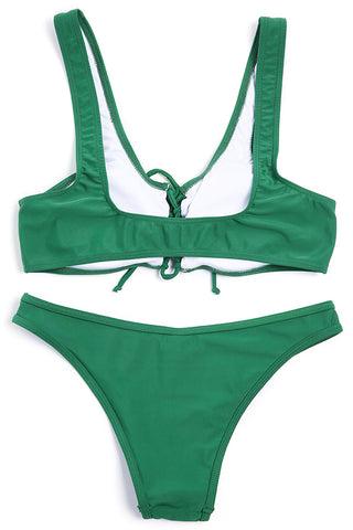 A189# Emerald Green Lace Up Crop Tank Bikini Set * - Cobunny