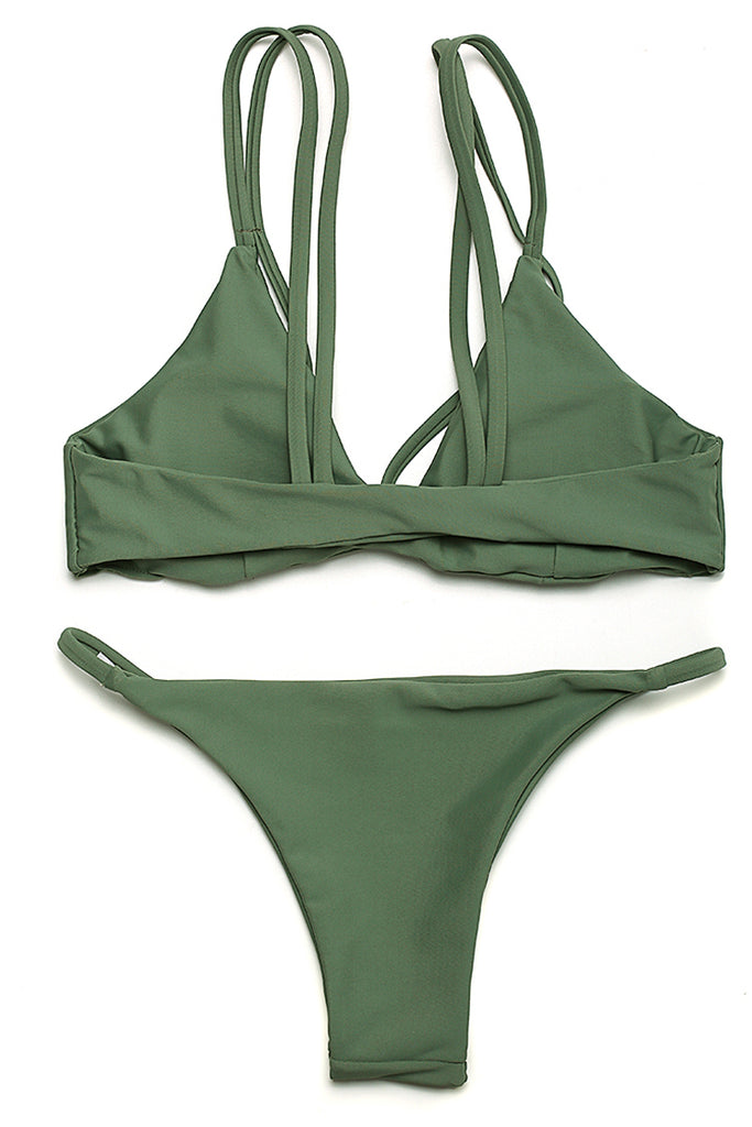 FB860# Solid Low Rise Bralette Bikini Set With Removable Pads * - Cobunny