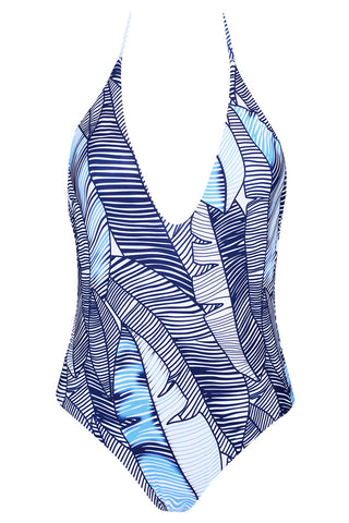A168# Tropical Leaf Print Plunge Backless Halter One Piece Swimsuit *(没有库存) - Cobunny