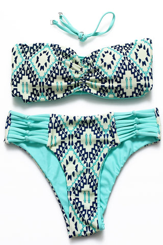 Reversible Abstract Pattern Print Looped Strappy Bandeau Halter Bikini Set - Cobunny