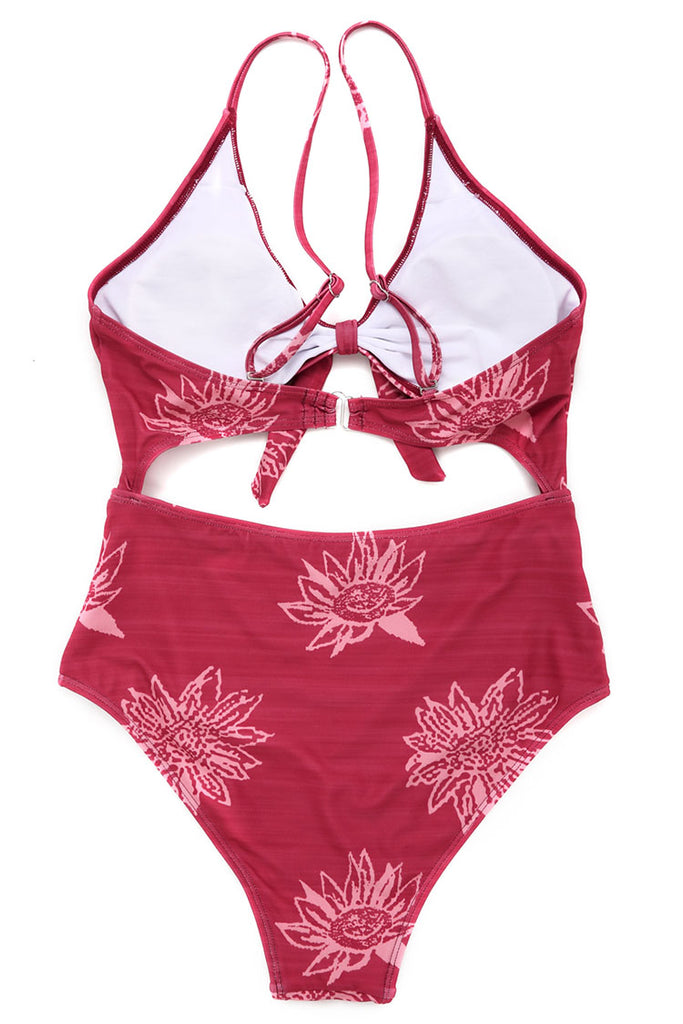 1A051# Rust Red Floral Print Tie Front Cutout One Piece Swimsuit* - Cobunny