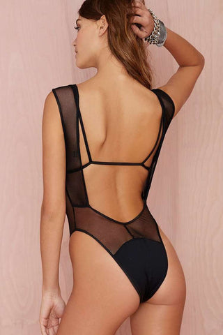 Black Mesh High Cut One Piece Swimsuit - Cobunny