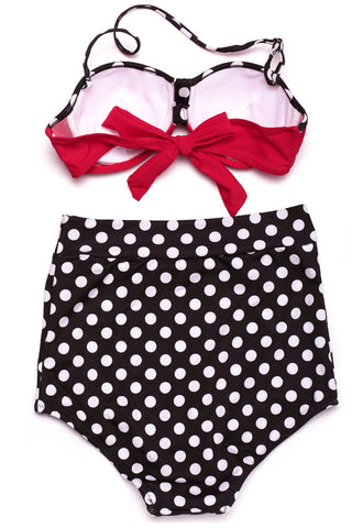 Polka Dot Two Tone Push Up Bandeau Halter High Waist Bikini Set - Cobunny