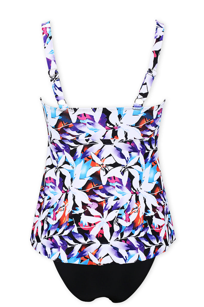 A177# Colorful Lily Flower Print Skirted Tankini Set * - Cobunny