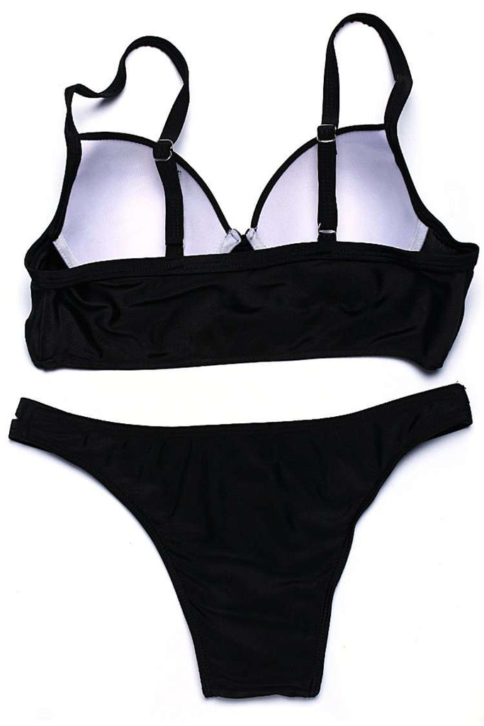 FB669# Black Push Up Full Cup Bra Bikini Set * - Cobunny