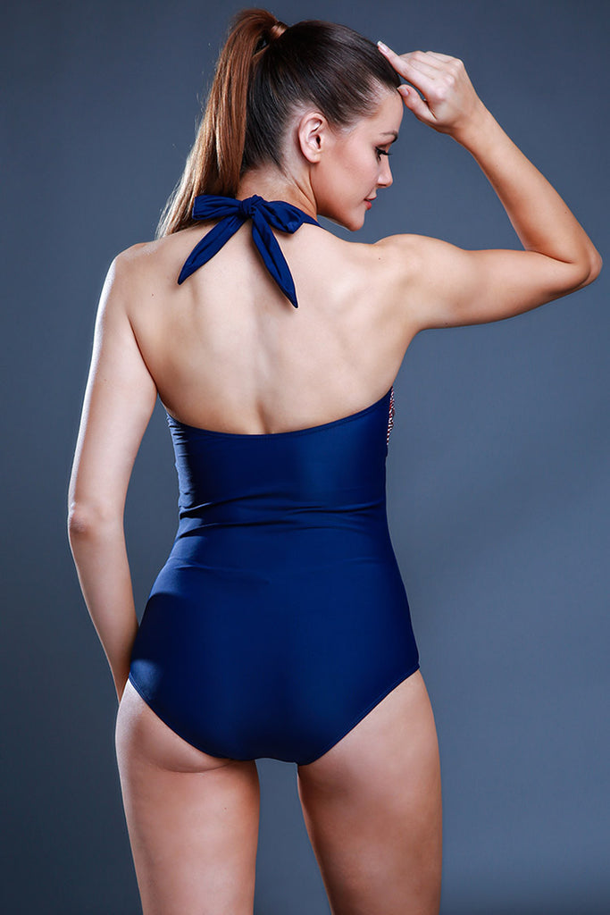 FB504# Two Tone Bow & Button HalterOne Piece Swimsuit * - Cobunny
