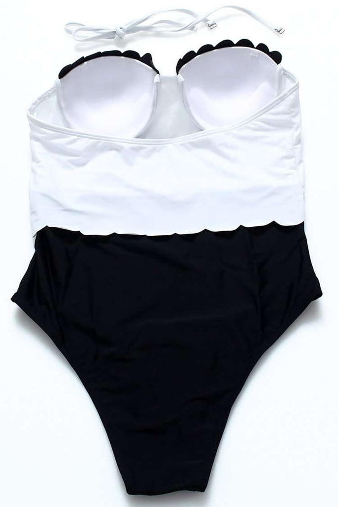 FB853# Black & White Two Tone Scallop Trim Push Up Halter High Cut One Piece Swimsuit * - Cobunny