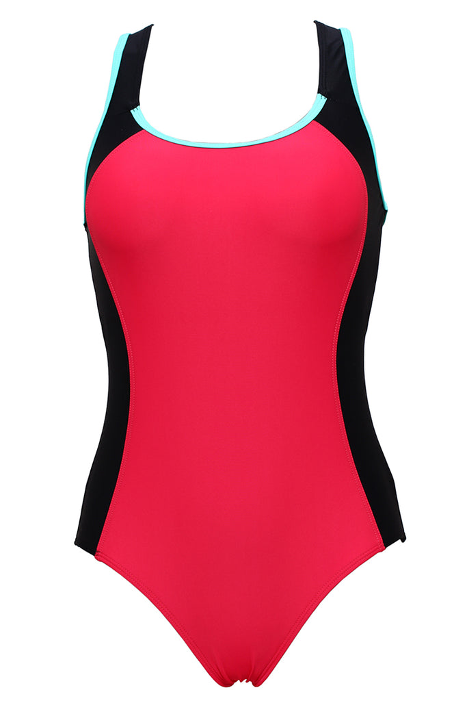 FB984# Two Tone Contrast Racerback Tank One Piece Swimsuit * - Cobunny