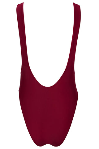 A123# Wine Red Plunge Backless High Cut Tank One Piece Swimsuit * - Cobunny