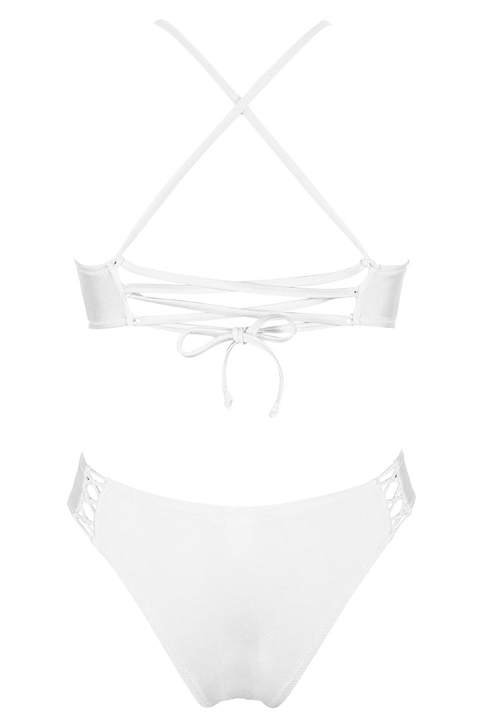 A311# Crisscross Lace Up Cutout Longline Bralette Bikini Set * - Cobunny