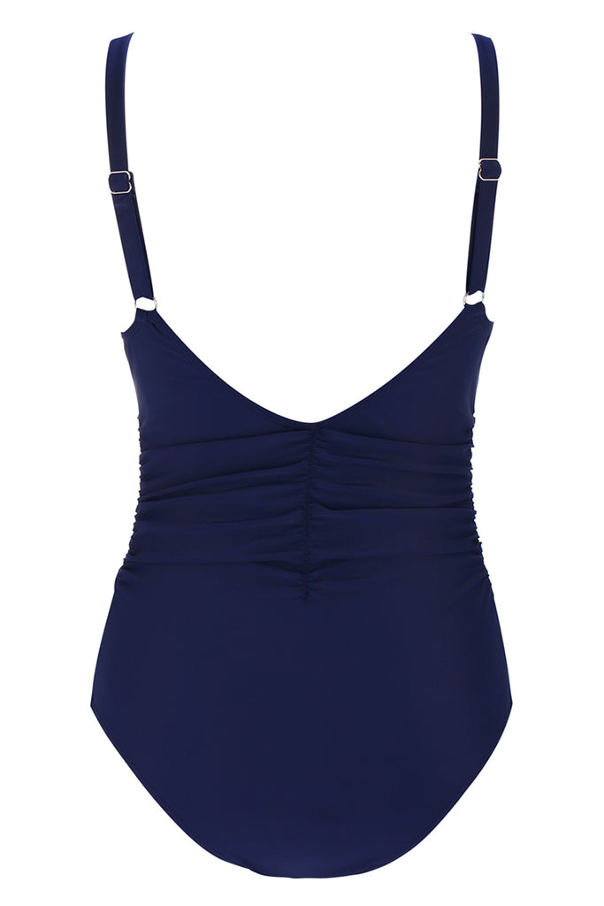 A061# Navy Blue Lace Up Plunge  Ruched One Piece Swimsuit* - Cobunny