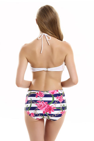FB605# White Bow Bandeau Top & High Waist Floral Print Bottom * - Cobunny