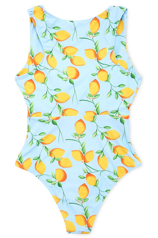 A137# Cute Lemon Print Tie Front Cutout One Piece Swimsuit * - Cobunny