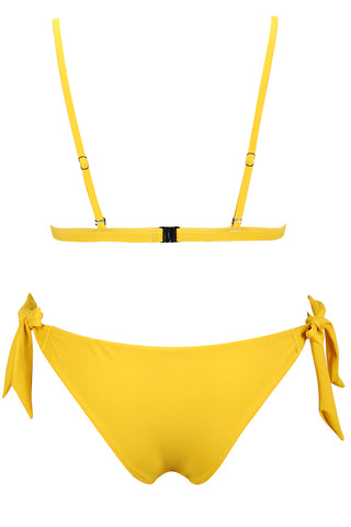 A353# Yellow Solid Front Bow Bralette Bikini Set * - Cobunny