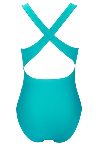 A297# Turquoise Solid Plunge Cross Back Halter One Piece Swimsuit * - Cobunny